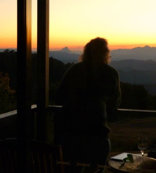 Birthday glass of wine as the sun set up in the rainforest in SE Queensland, Australia :)