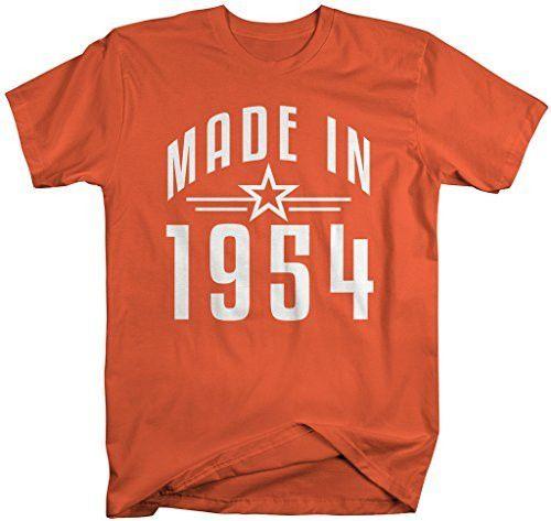 Shirts By Sarah Men's Made In 1954 Birthday T-Shirt Retro Star Custom Shirts