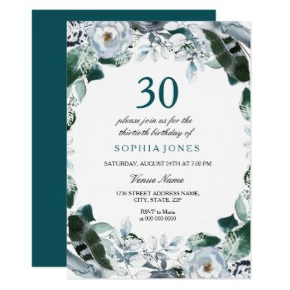 Floral Watercolor Jade Green 30th Birthday Invite - giftidea gift present idea number thirty thirtieth bday birthday 30thbirthday party anniversary 30th
