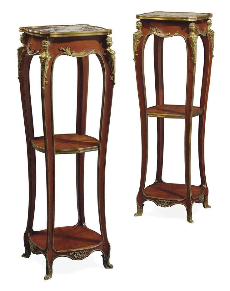 A PAIR OF FRENCH ORMOLU-MOUNTED MAHOGANY PEDESTALS  CIRCA 1900