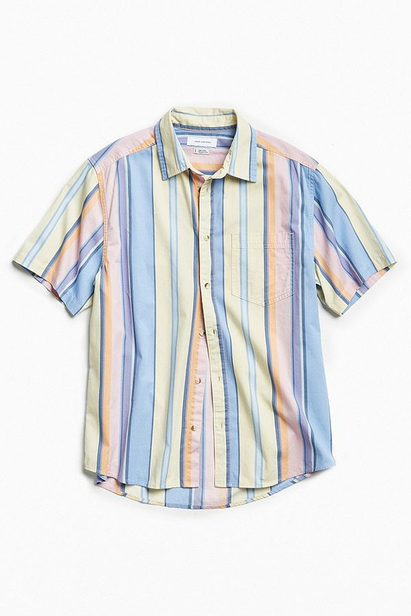 57287c58 Slide View: 2: UO '90s Vertical Stripe Short Sleeve Button-Down Shirt