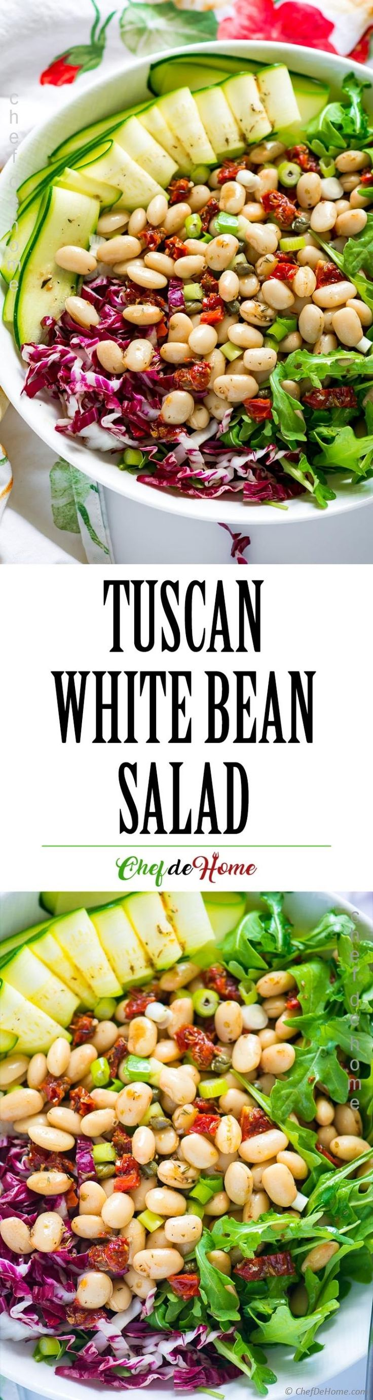 Easy and Healthy Tuscan Bean Salad with Arugula #glutenfree #salad #sundried #tomatoes #veganrecipes #plantbased #plantbaseddiet #zucchini #arugula