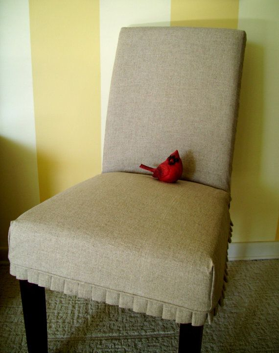 Linen Slipcover Parson Chair With Knife Pleats By Applecatdesigns 95 00