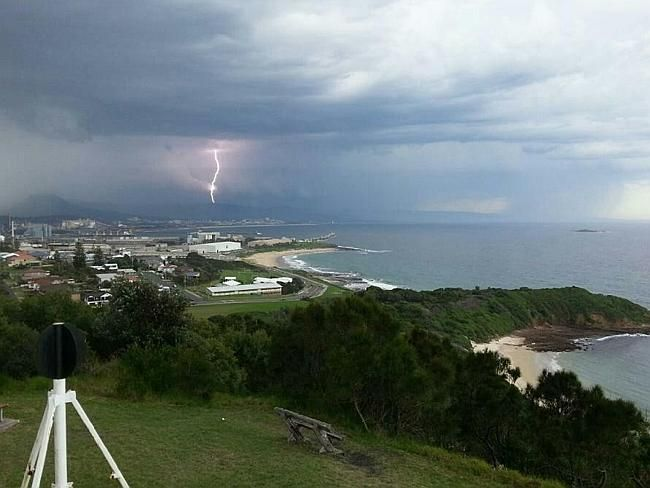 The view north to Sydney from Port Kembla's Hill 60 showed just how impressive this storm cell was. 05 March 2014.