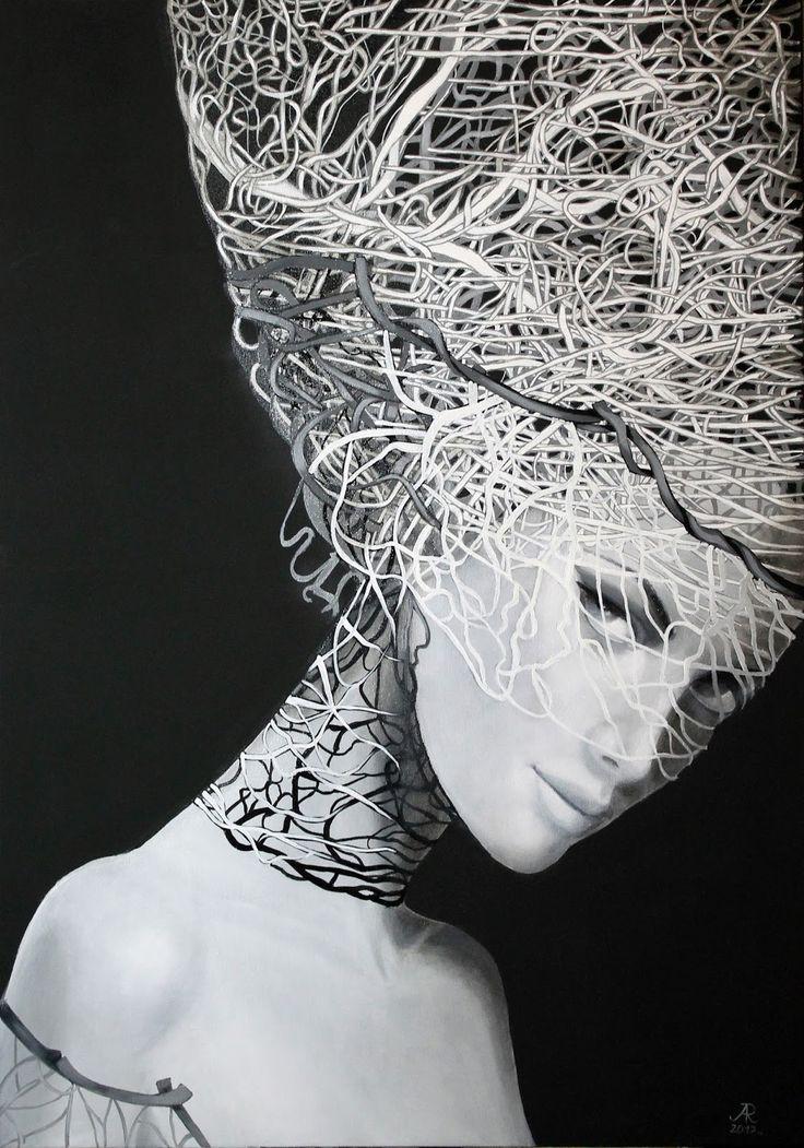 Anna Rączka,,Zostań'' olej na płótnie 100 x 70 cm