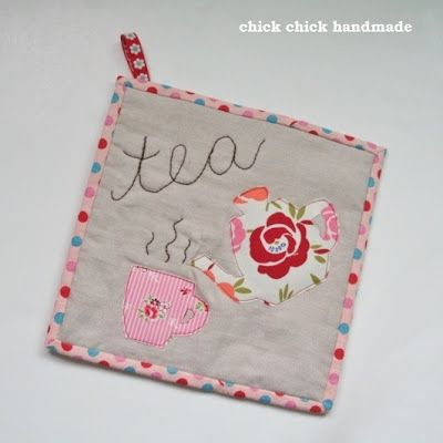 Tea time mug rug, fun gift idea for tea lovers