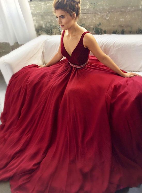 Charming v neck burgundy long prom dress, burgundy evening dress, formal dress