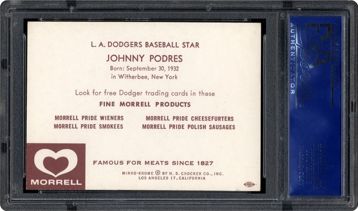1959 Morrell Meats Dodgers  Johnny Podres