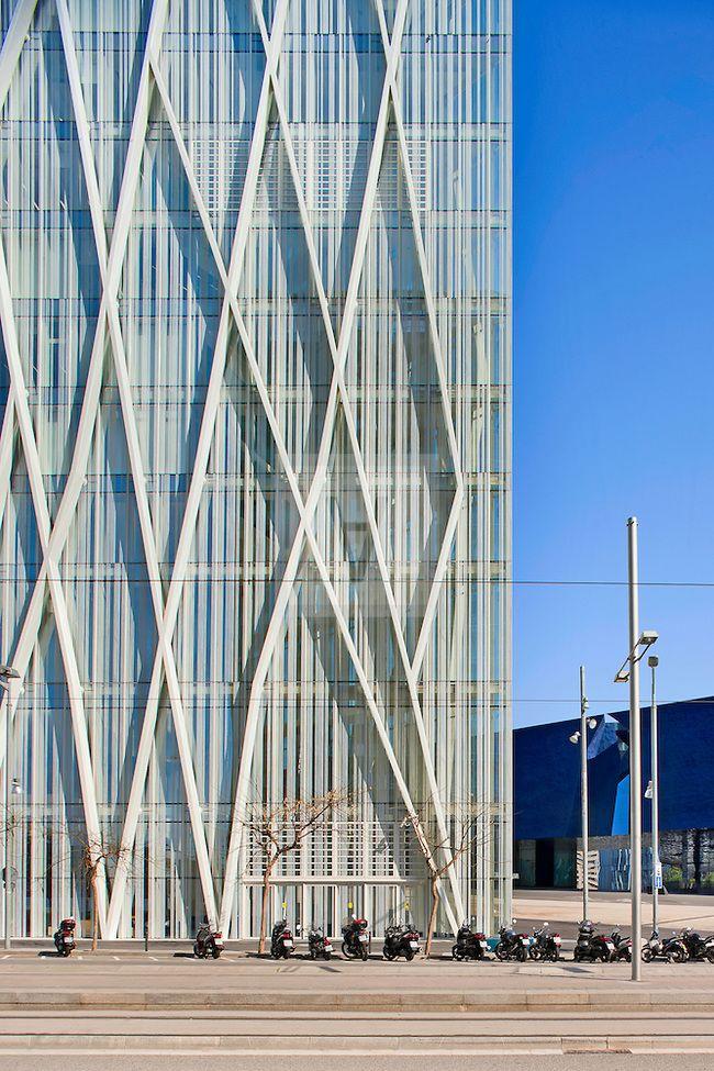 Long White Steel Lines Climb Zigzagging Zero Zero Tower