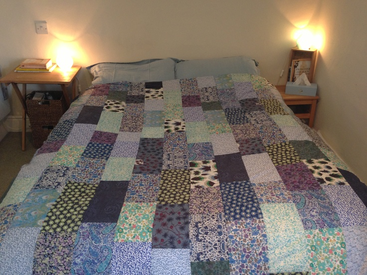 Patchwork quilt made from Liberty fabric