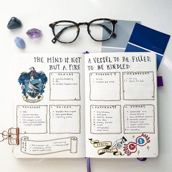 17 Harry Potter Bullet Journal Spreads That Are Magical Thefab20s Bullet Journal Bullet Journal Ideas Pages Bullet Journal Week