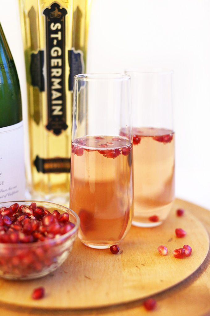 Simple pomegranate champagne spritzers made with St. Germain elderflower liqueur, champagne, pomegranate juice and club soda. The special occasion cocktail and especially New Year's.