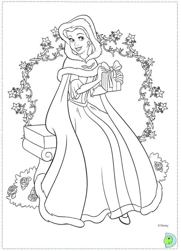 Christmas Princess Coloring Page In 2020 Disney Princess Coloring Pages Rapunzel Coloring Pages Cinderella Coloring Pages