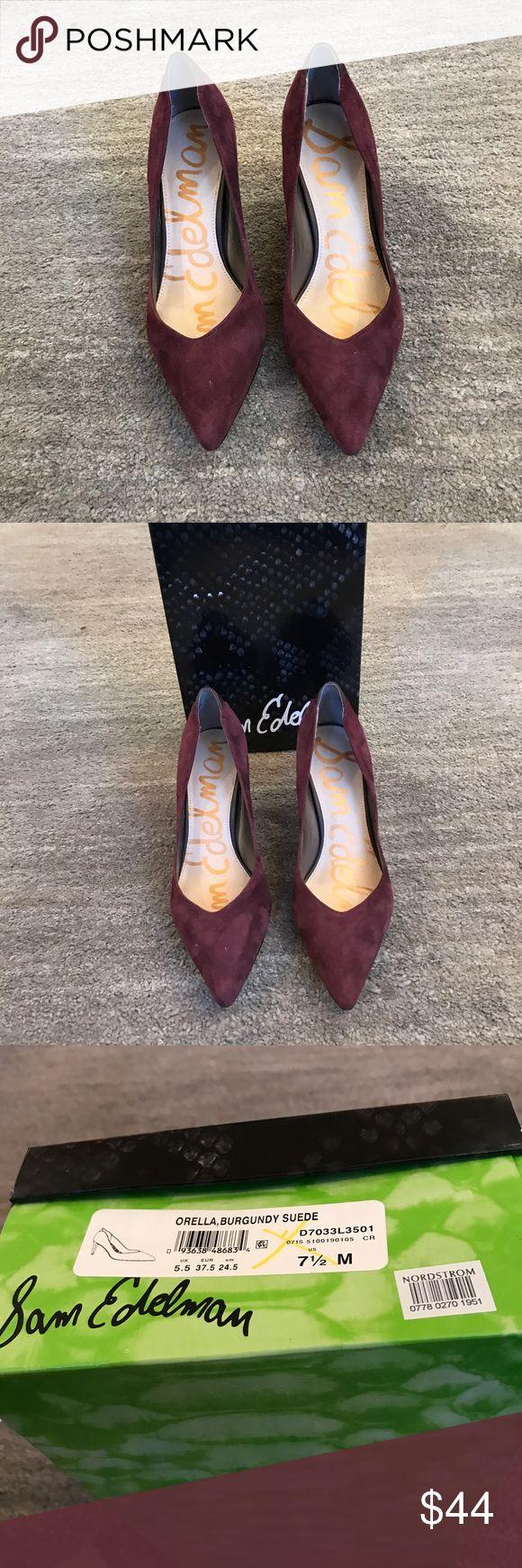 "Sam Edelman-worn once-Orella suede pump Sam Edelman Orella suede pump. Worn once.  Heel is 3"". Beautiful burgundy suede. Box included. Sam Edleman Shoes Heels"