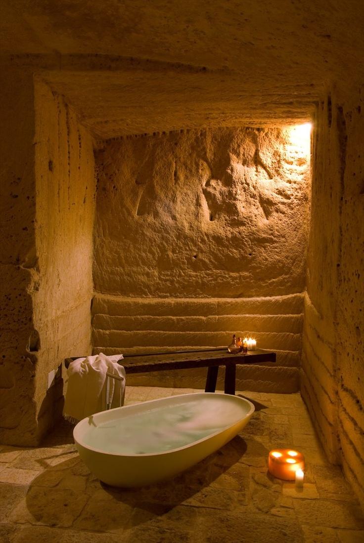Le Grotte della Civita, Matera, 2000 ~ this is really a private bath!