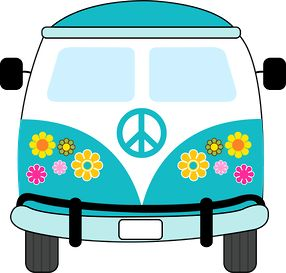 Dibujos. Clipart. Digi stamps - Hippie Van - Blue Car