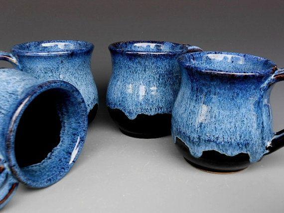 Hand Thrown, Kiln Fired Blue Black Mug Ceramic Coffee Mug by darshanpottery on Etsy, $20.00