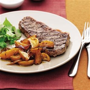 Chargrilled steak with caramelised golden beetroot