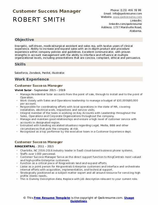 Customer Success Manager Resume Samples In 2020 Resume Examples Sales Resume Examples Manager Resume
