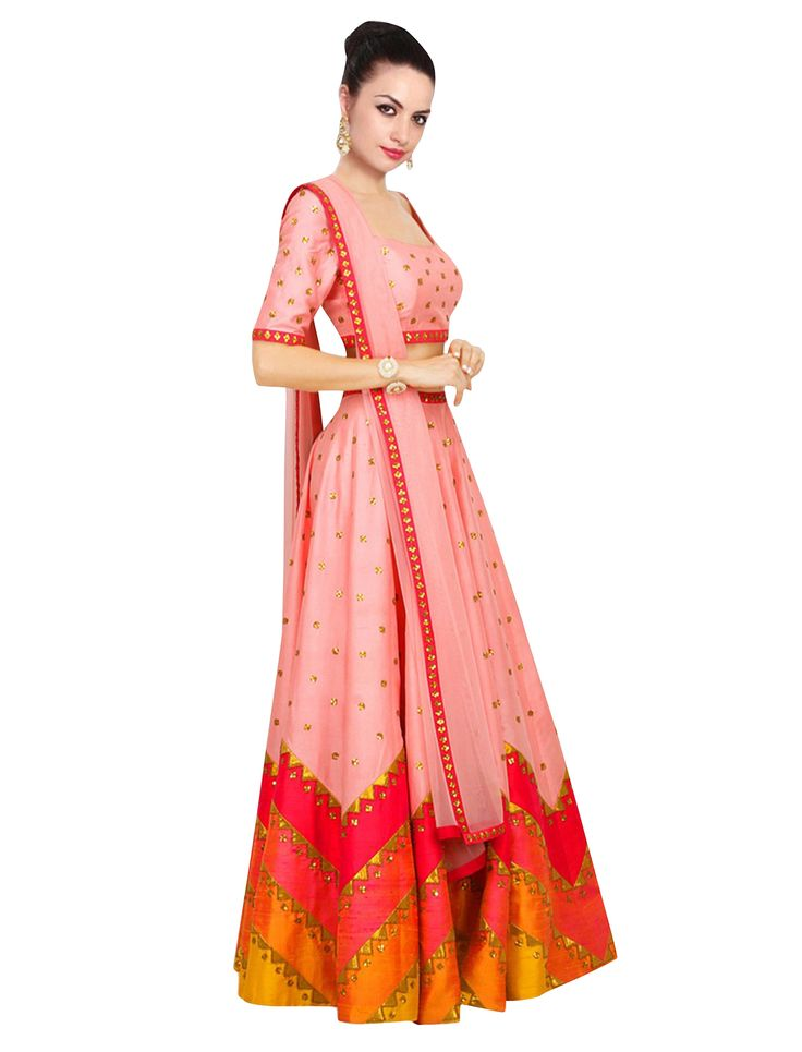 Peach Art Silk Festival Wear Lehenga Choli-VpVilla Online Shopping