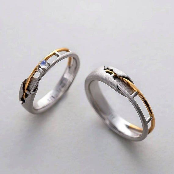 Gold Plated Pair of Cocktail Band Rings
