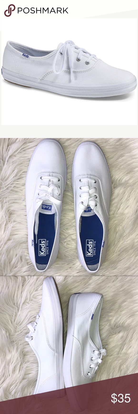 NEW Keds White Canvas Champion Original Sneakers New without box, never worn Keds Champion Original white sneakers.  Your wardrobe essential, go with everything casual shoe.   Classic Canvas upper.  Flexible textured rubber outsole. Women's Size 12. Keds Shoes Sneakers