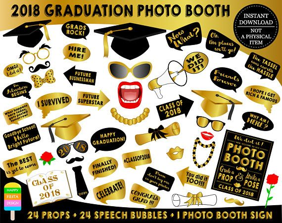 graphic relating to Free Printable Graduation Photo Booth Props called PRINTABLE Commencement Photograph Booth Props 2019Commencement 2019