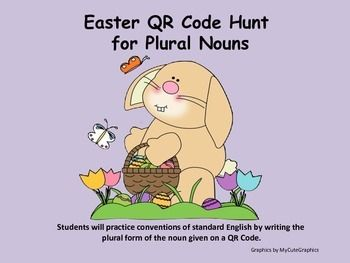 Singular and plural nouns using 24 QR Codes with an Easter/spring theme! Your students will love practicing ELA language standards using technology. After teaching lessons on plural forms of nouns using -s (toy to toys), -es (box to boxes), changing y to i before adding -es (baby to babies),changing -f or -fe to -ves (wolf to wolves), and irregular plural nouns such as changing 'goose' to 'geese', the students can use these 24 task cards in a classroom center/learning station or as a ...