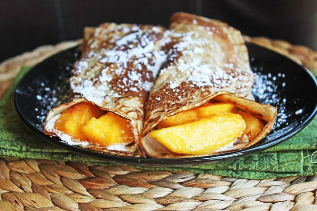 Cinnamon Vanilla Crepes with Fresh Peaches and Cream from Jamie Cooks It Up!