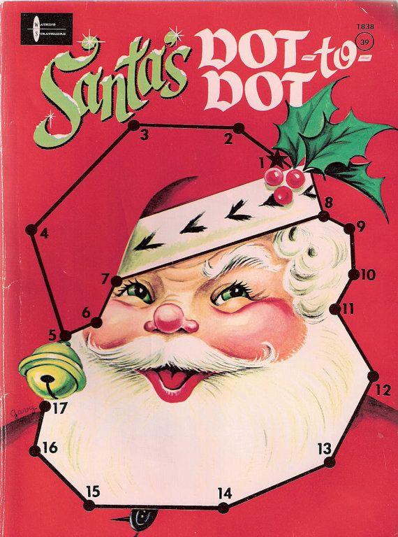 Vintage Santa's Dot-to-Dot Coloring Book Watkins Strathmore 1968