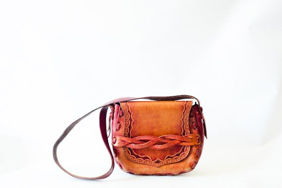 Vintage 70s brownish orange distressed  tooled by recollectionla