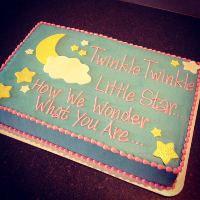 Twinkle Twinkle gender reveal cake   Cami's Cake Co. in Eudora, Kansas www.facebook.com/camiscakeco
