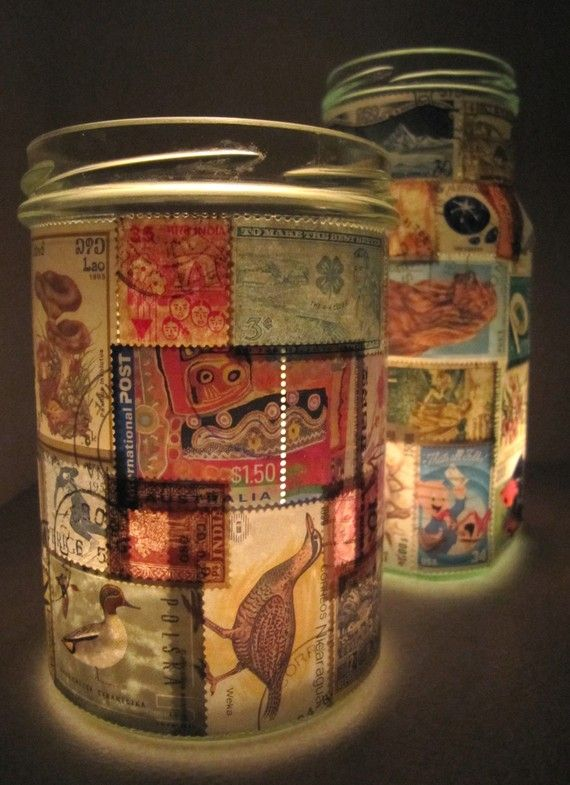 We love this idea - decorate an old jar with colourful stamps then insert a tealight candle. #collegedorm #dormdecor #decor