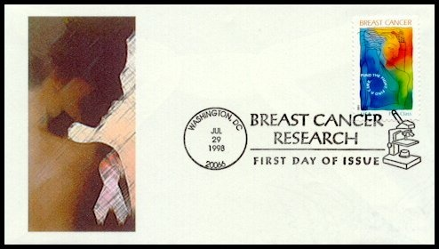 This nice TZUZI Cachet was created by Susan Hartman from Kalispell MT.  Although the cover is unnumbered, Susan told me that she had only created one of them.  The cachet's image is taken from the Breast Cancer Awareness stamp issued by the USPS on June 15, 1996.  Susan used software to add some special effects to the original image before printing the cachet.  The original stamp was designed by Tom Mann from Warrenton VA.