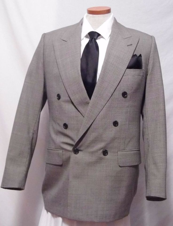 Gerald Austin Gray Wool Double Breasted Men's Sport Coat Size 42R #GeraldAustin #DoubleBreasted