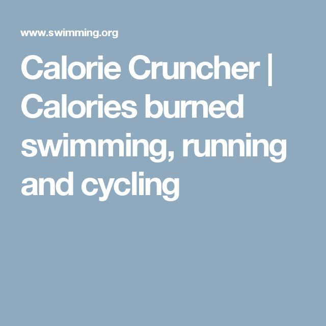 Calorie Cruncher | Calories burned swimming, running and cycling
