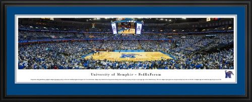 Memphis Tigers Basketball at FedEx Forum - Blakeway Panoramas Print with Deluxe Frame and Double Mat, Deluxe Frame With Double Mat In Team Colors