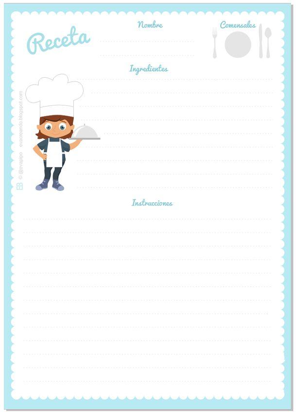 Plantilla para recetas de @evapipo desde evacreando.blogdpspot.com …