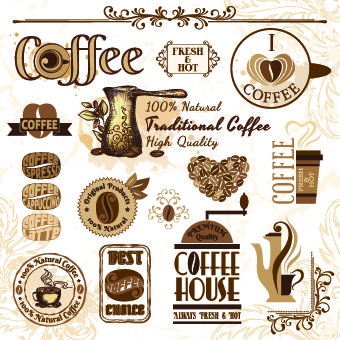 Retro Labels and stickers coffee vector 01. Embellishments