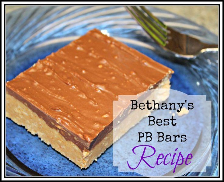 Homemade nobake peanut butter and chocolate dessert bars recipe.