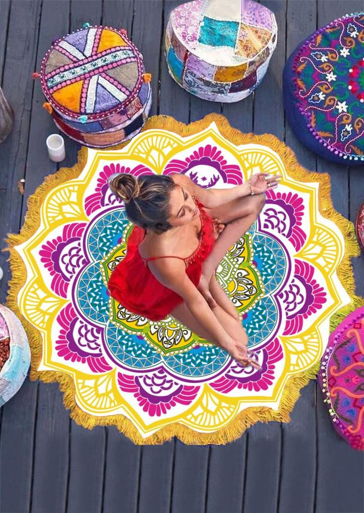 Indian Mandala Tapestry Boho Lotus Bohemian Beach Throw Towel Yoga Mat Round Beach Towel Serviette Ronde Toalla Playa Circle