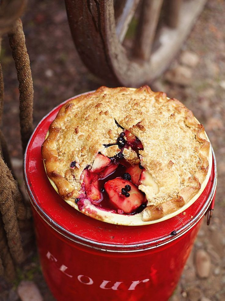 Appleberry pie - works well with a crumble topping (can use crumble recipe from peach pie recipe in pins)