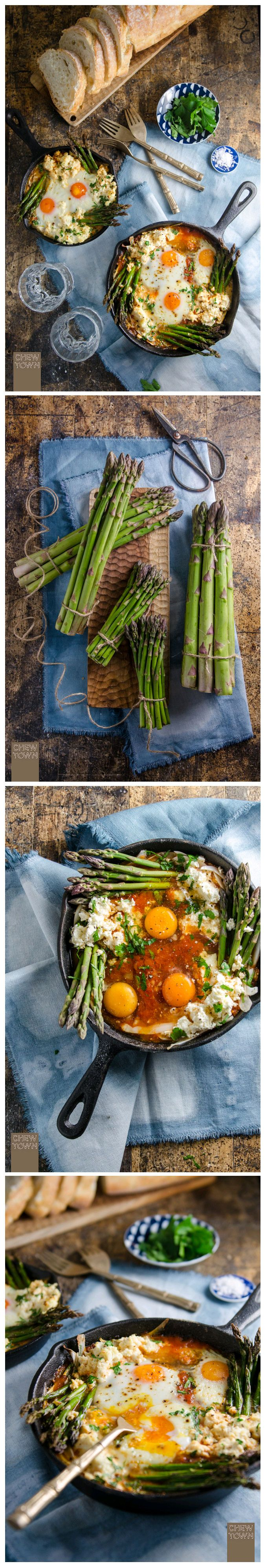 BAKED EGGS IN ITALIAN TOMATO SUGO WITH ASPARAGUS, FENNEL AND RICOTTA