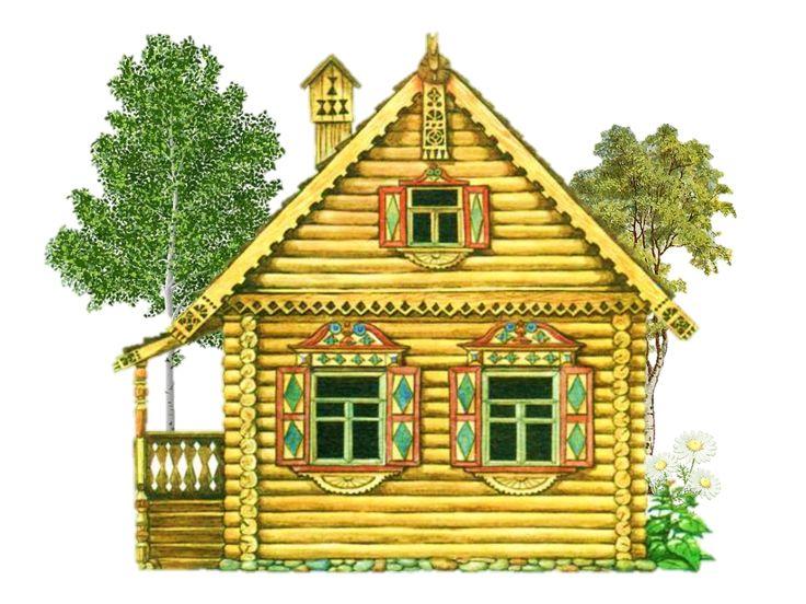 Картинки нарисованных деревянных домов