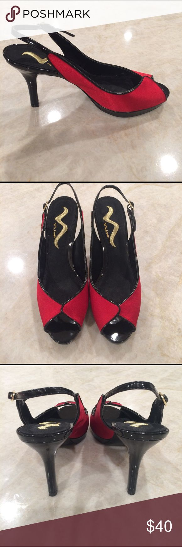 """Nina red satin & black patent leather shoes Beautiful red satin and black patent leather. Nina peep toe, sling back with adjustable buckle 4"""" heels. Worn once. Great condition. Comes in original box. Nina Shoes Heels"""