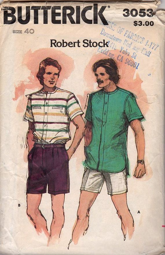 Butterick 3053 1970s Mens Designer Shirt and Shorts vintage sewing pattern Robert Stock by mbchills