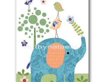 Niños de guardería elefante pared arte verde de aves azul bebé vivero Decor bebé niño guardería niños bebé sala Decor vivero lámina