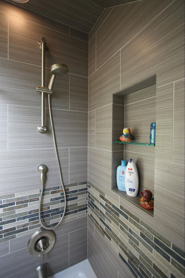 Small bathroom design ideas special ideas creative mosaic bathroom - Classic Home Decor Ideas Contemporary Full Bathroom With Recessed Shower Niche Ceramic Shower Tile Handheld Showerhead