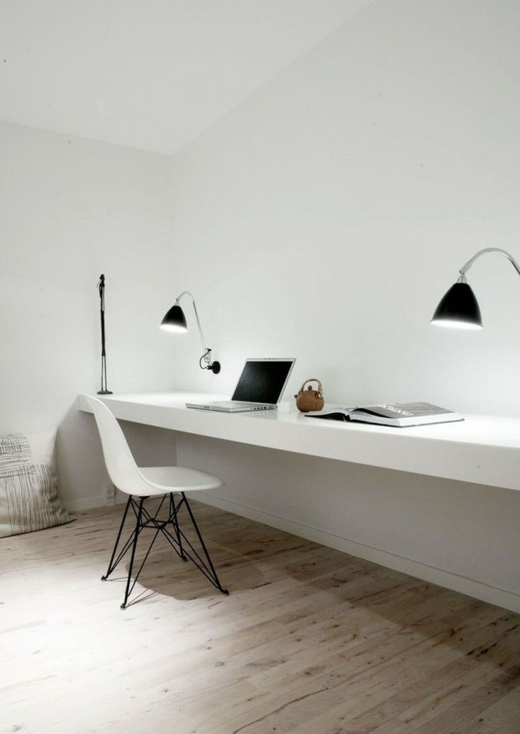 Home Office Lighting, task lights mounted to wall, Eames molded plastic chair | Remodelista