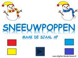 Digibordles: Sneeuwpoppen: maak de sjaal af. digibordonderbouw.nl